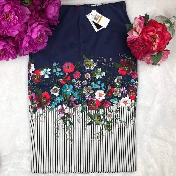 ddc88b2988 ECI Skirts   Lovely Floral Print Striped Pencil Skirt   Poshmark
